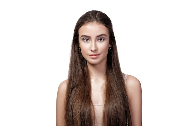 Portrait of beautiful woman with long hair isolated on white background.