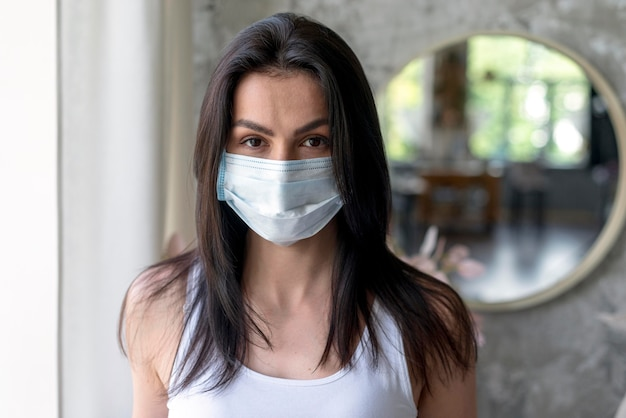 Portrait of beautiful woman with medical mask