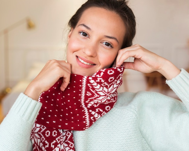 Portrait of beautiful woman with scarf