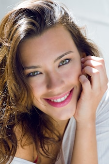 Portrait of beautiful woman with smile at home