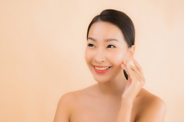 Portrait beautiful young asian face woman with beauty spa concept