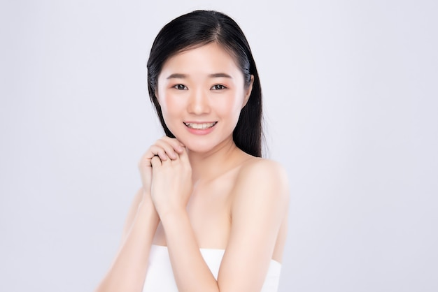 Portrait beautiful young asian woman clean fresh bare skin concept. asian girl beauty face skincare and health wellness, facial treatment, perfect skin, natural make up