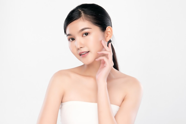 Portrait beautiful young asian woman clean fresh bare skin concept. asian girl beauty face skincare and health wellness, facial treatment, perfect skin, natural make up,