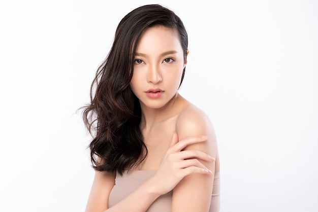 Portrait beautiful young asian woman clean fresh bare skin concept. asian girl beauty face skincare and health wellness