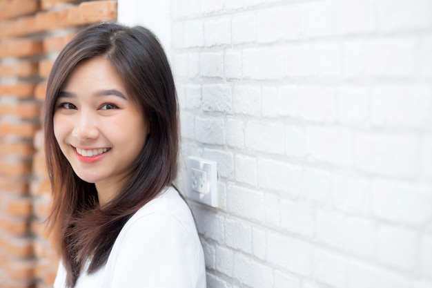 Portrait beautiful young asian woman happiness standing