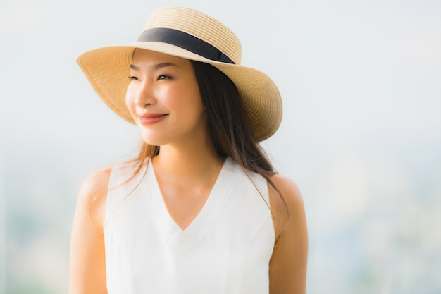Portrait beautiful young asian woman smile happy and feel free
