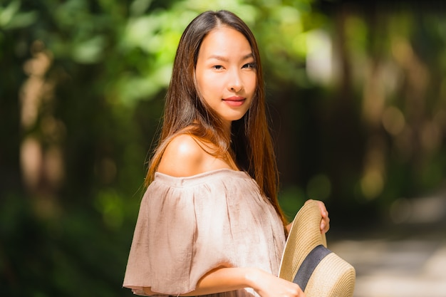 Portrait beautiful young asian woman smile happy