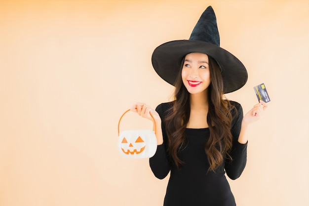 Portrait beautiful young asian woman wear halloween costume