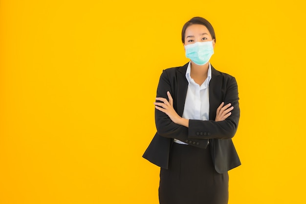 Portrait beautiful young asian woman wear mask for protect covid19
