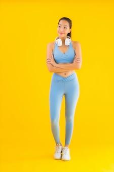 Portrait beautiful young asian woman wear sport wear with smart phone