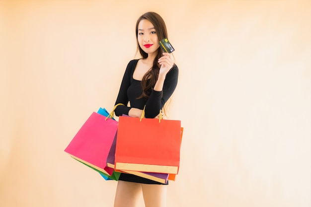 Portrait beautiful young asian woman with shopping bag