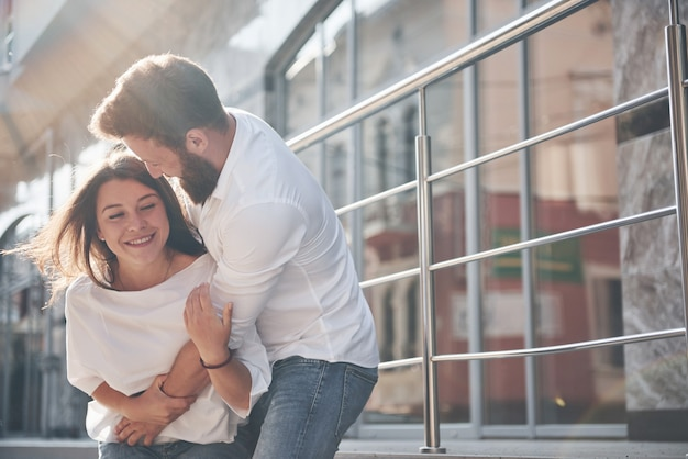 Portrait of a beautiful young couple smiling together.