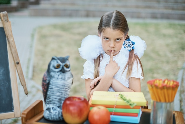 Portrait of a beautiful young first-grader sitting at a desk on the background autumn park.