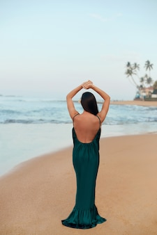 Portrait of beautiful young woman in dress on the beach. rear view of pretty girl on tropical beach. freedom concept, holiday, beach, sky background.