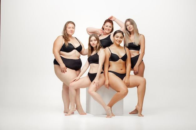 Portrait of beautiful young women with different shapes posing on white