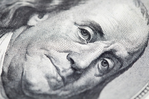 Portrait of benjamin franklin on 100 dollar bill, money concept