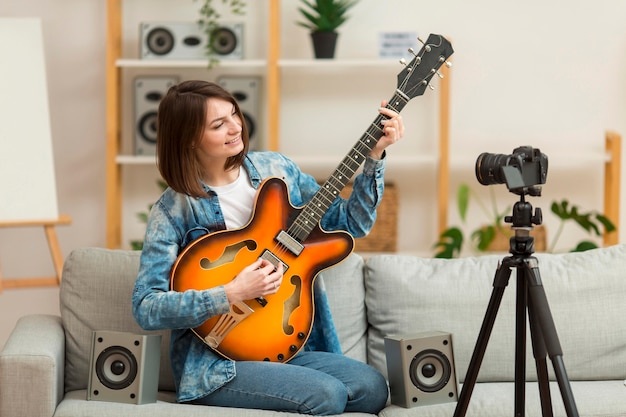 Portrait of blogger recording music video