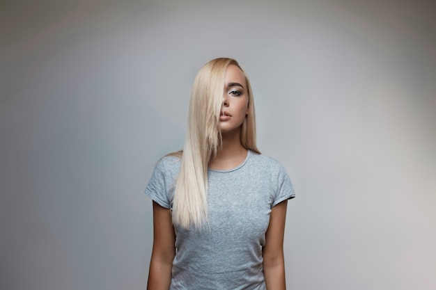 Portrait of blonde beautiful young woman