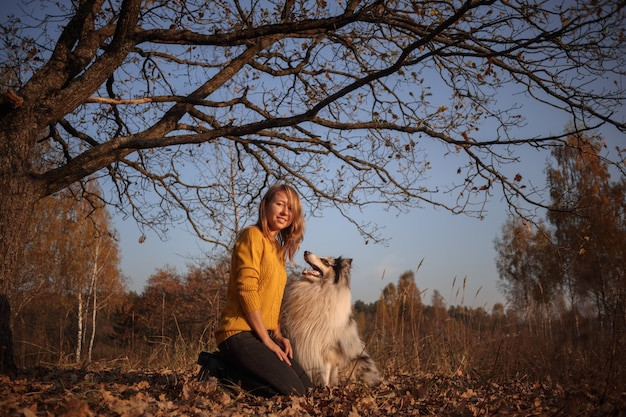 Portrait of a blue merle rough collie and a girl under oak branches in an autumn park at sunset