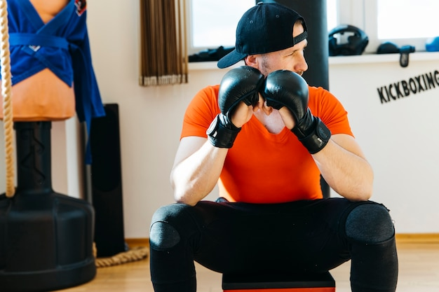 Portrait of boxer in the gym