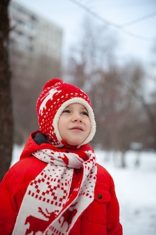 Portrait of a boy in winter clothes