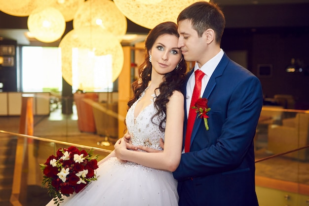 Portrait of the bride and groom before the wedding. couple in love