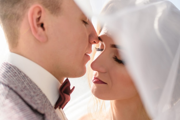 Portrait of a bride and groom under a veil. close-up.