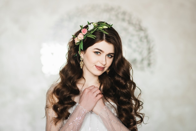 Portrait of a bride with flowers in her hair