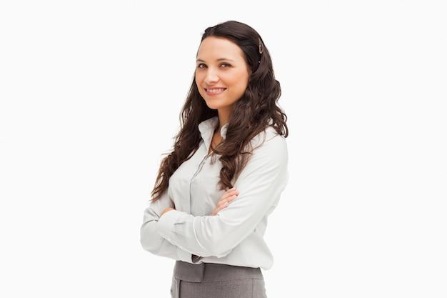 Portrait of a brunette businesswoman smiling