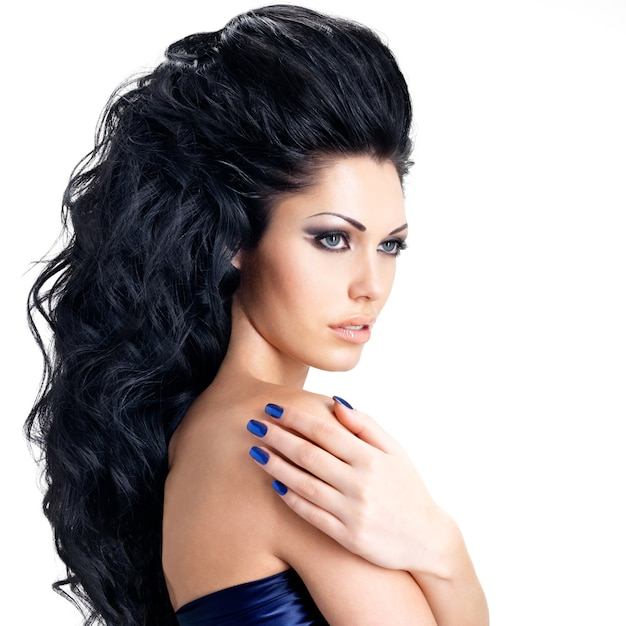 Portrait of brunette woman with beautiful long hairs
