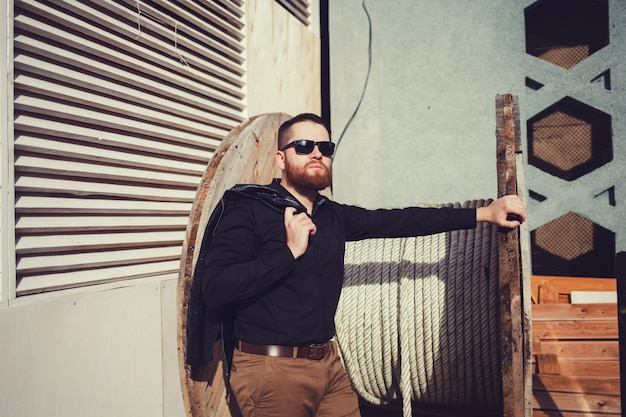 Portrait of brutal bearded man