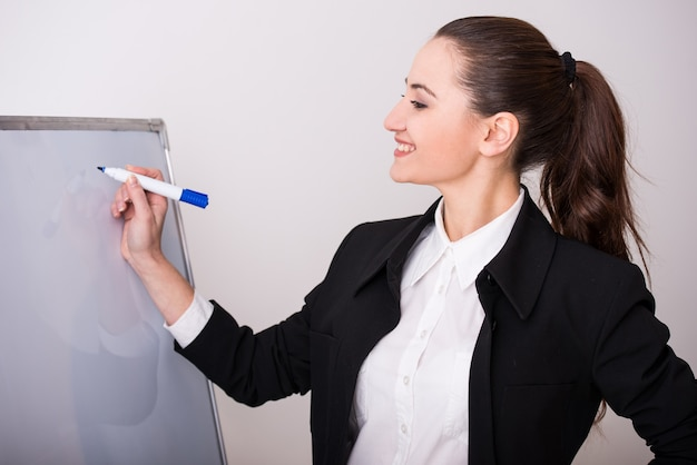 Portrait of business woman with board