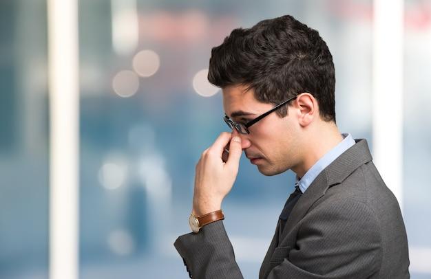 Portrait of a businessman focusing his mind