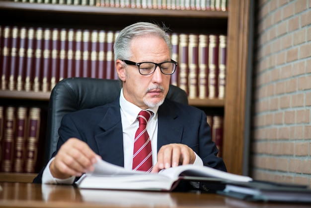 Portrait of businessman reading a book