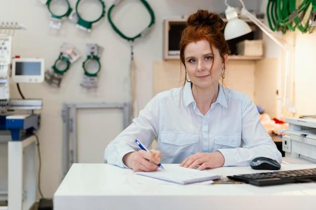 Portrait businesswoman owner working
