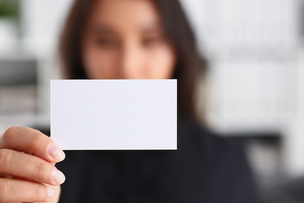 Portrait of businesswoman work in office show cutaway