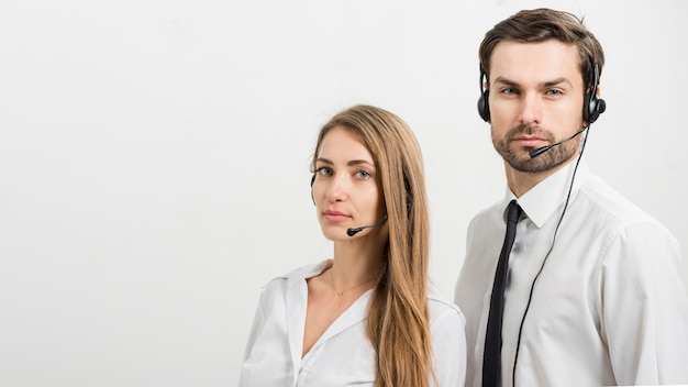 Portrait of call center agents