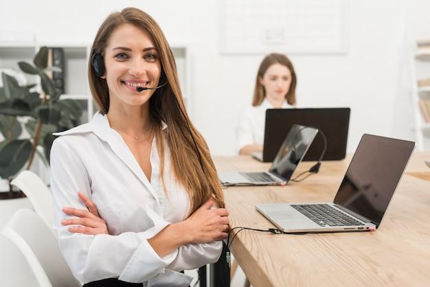 Portrait of call center woman