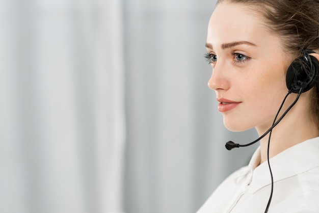Portrait of call center woman