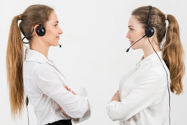 Portrait of call center women