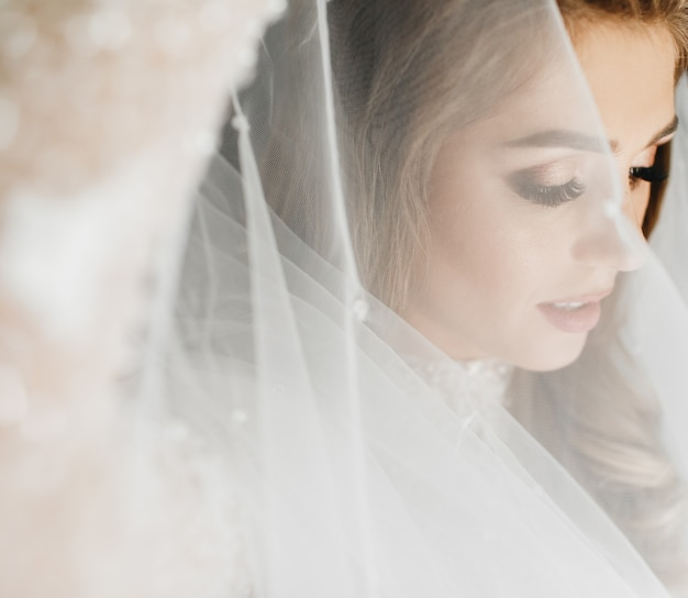 Portrait of charming bride enveloped in a veil