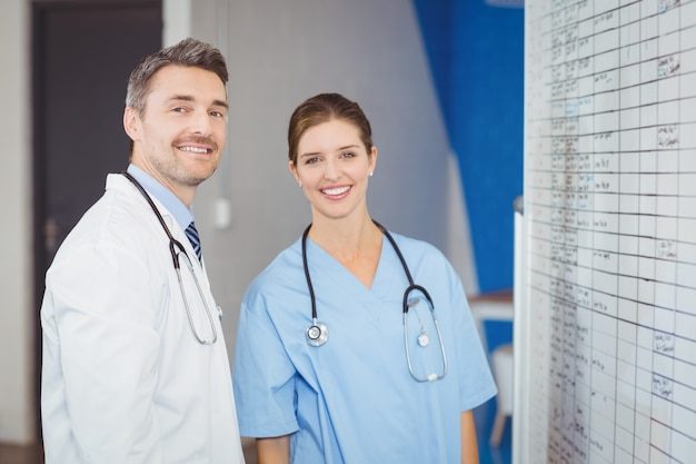 Portrait of cheerful doctors standing by chart on wall