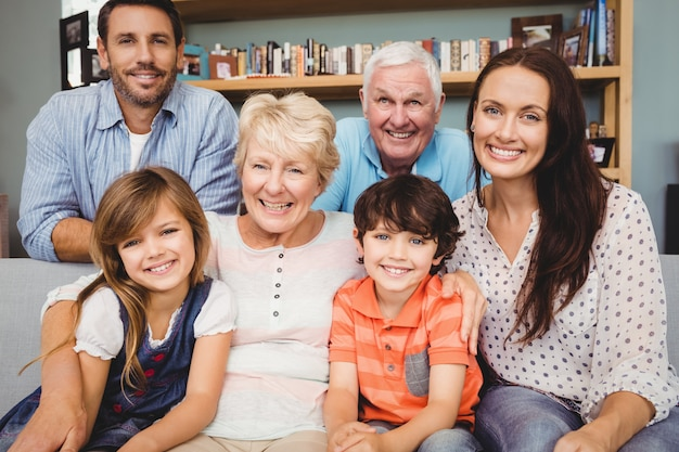 Portrait of cheerful family with grandparents