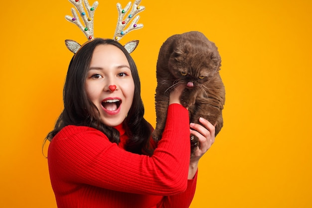 Portrait of a cheerful girl in a red sweater and with deer horns lifts up a cute cat on a yellow background