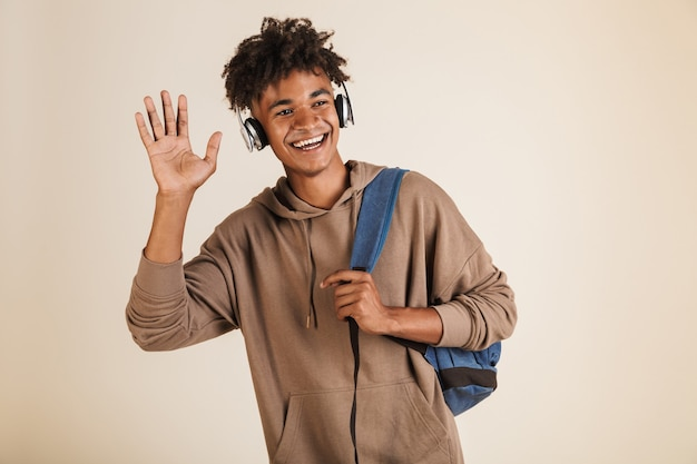 Portrait of a cheerful young afro american man