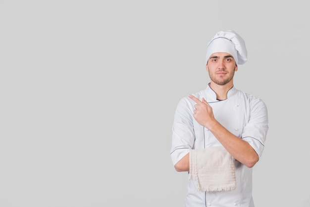 Portrait of chef presenting copyspace