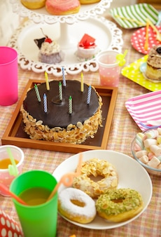 Portrait of chocolate cheesecake, donuts, mini cake, and marshmallow on table set for child's party
