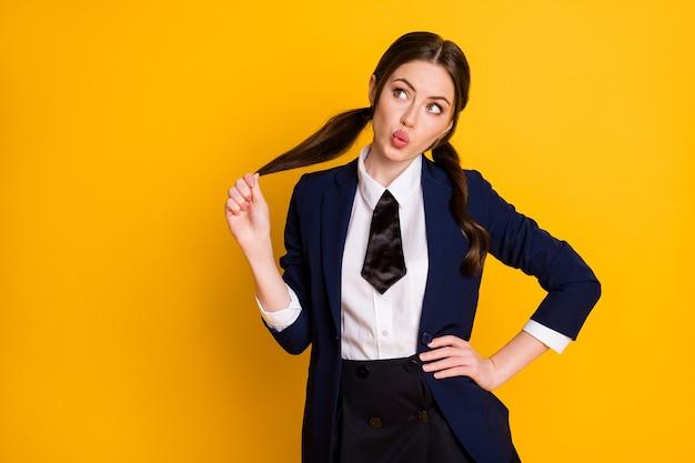 Portrait of clever intelligent school teenager look copyspace