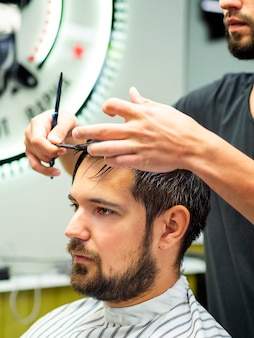 Portrait of client getting a haircut