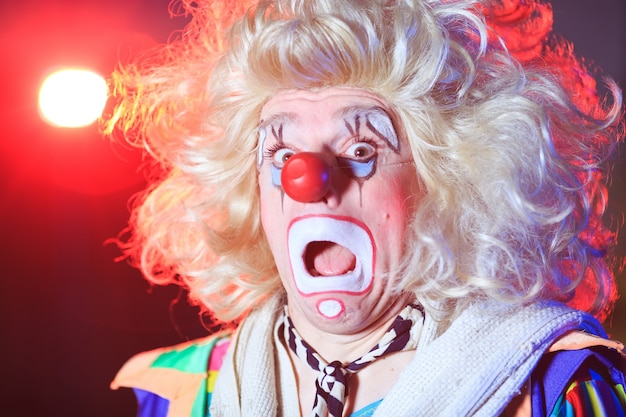 Portrait of a clown in the circus arena.